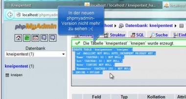 Kneipentest-Tutorial 04: MySQL Datenbank anlegen und mit PHP auslesen