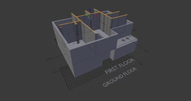 3D Blender architecture: we create the building walls