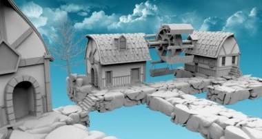 Blender 3D Моделирование концепта городка Modeling town concept