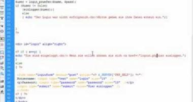 Einen Loginbereich mit Mysql/PHP erstellen(5/6) – Tutorial von Webseiten mit PHP(deutsch / german)