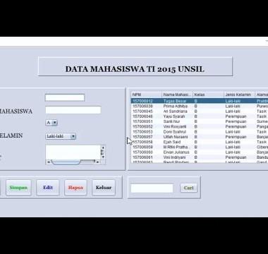 Membuat Form Data Mahasiswa pada NetBeans – CRUD