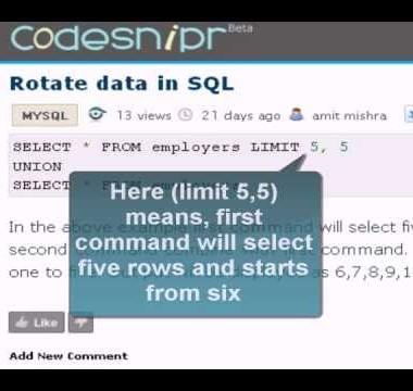 MySQL Tutorial : rotate data