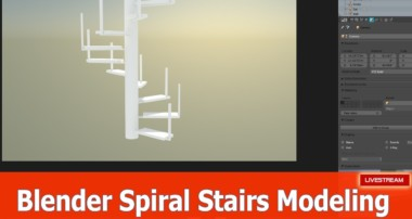 Blender modeling tutorial Spiral Stairs : Live stream