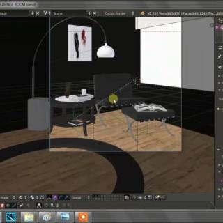 Lounge Room: based from the tutorial of BlenderGuru