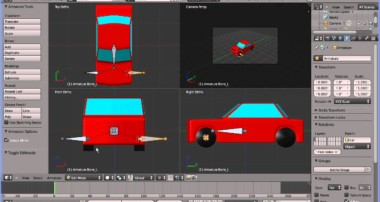 Blender 2.6 Tutorial Adding an Armature to the Model of a Car/Automobile Experimenting with Car Rigs