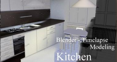 Blender 3D modeling timelapse – Kitchen