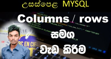 AL mySQL create and delete columns, rows – [ SINHALA ]