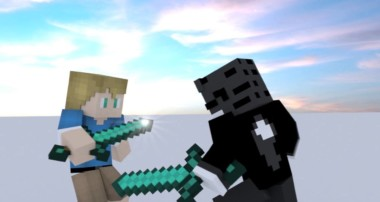 Lame fight loop to dramatic music (Blender Minecraft Animation)
