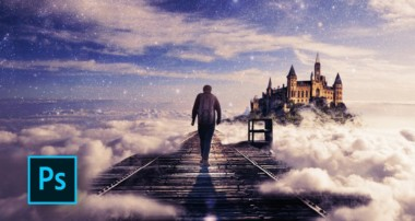 How to Make a Fantasy Photo Manipulation – Walking in the Clouds – Photoshop manipulation tutorials