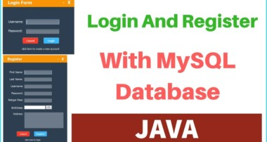JAVA – How To Create Login And Register Form With MySQL DataBase In Java Netbeans