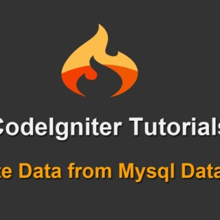 8 – Codeigniter Tutorials – Delete Data from Mysql Database