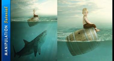 Photoshop Photo Manipulation Tutorial : Boy & Shark – Under Water Scene
