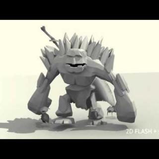 3D GOLEM – BLENDER + FLASH COMPOSITE