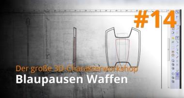 Blender 3D-Charakterworkshop Teil 1 | #14 – Blaupausen Waffen