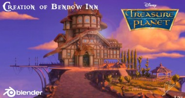 Creation of the Benbow Inn from Disney's Treasure Planet in Blender 2.8