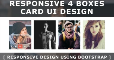 Html Css Responsive 4 Boxes Card UI Design Using Bootstrap – Css Image Hover Effects – Responsive