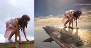 Photoshop Manipulation Tutorials Photo Effects | Girl on Plane