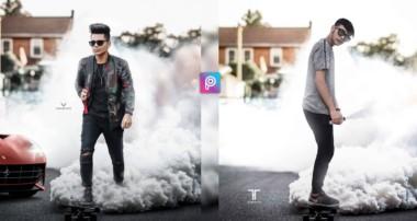 PicsArt Skateboard Smoke Bomb Photo Editing Tutorial in PicsArt Step by Step in Hindi -Taukeer Editz