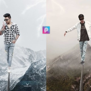 PicsArt Creative Manipulation Rope Walking Photo Editing Tutorial in PicsArt Step by Step in hindi