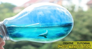 photo manipulation – Ocean at the bulb – Photoshop Tutorials