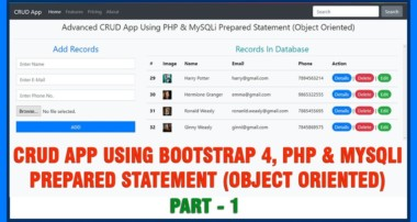 #01 Advanced CRUD App Using Bootstrap 4, PHP & MySQLi Prepared Statement In Object Oriented Style