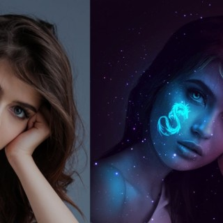 Tattoo Glow in the Dark Portrait Effect Photoshop Tutorial