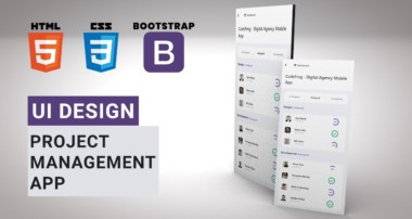 Mobile App UI Design Tutorial – Project Management App | HTML CSS BOOTSTRAP Speed Coding